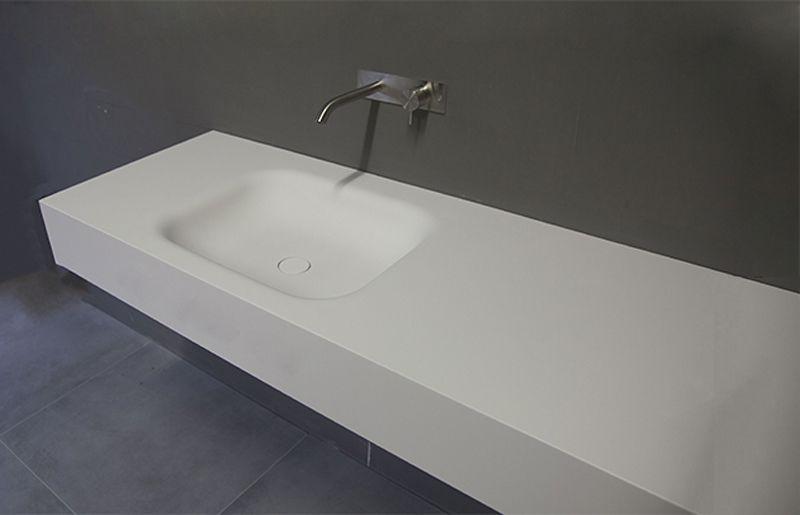 Rechthoekige Witte Wastafel : Wastafels van hi macs solid surface van b dutch