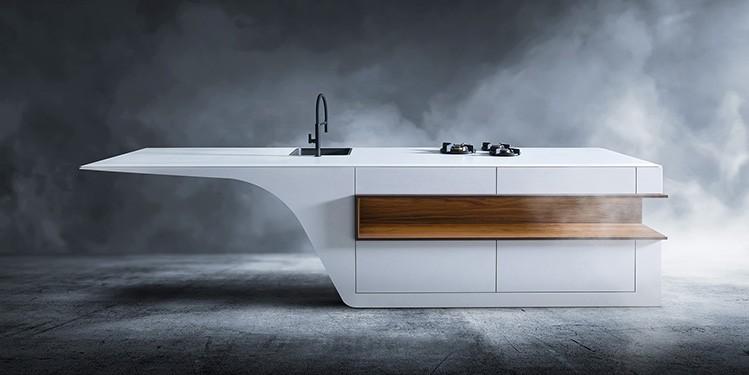 Strakke witte keuken. Maatwerk design keukens van B Dutch. Gemaakt van solid surface, Corian. Topkwaliteit af fabriek. Ontwerp B Dutch.