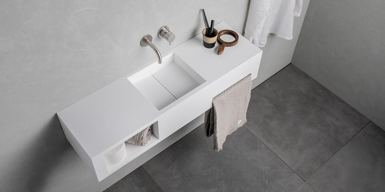 B DUTCH design wastafels, toiletfonteinen, Solid Surface Corian mat witte wastafels voor design badkamer en toilet.