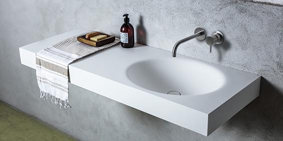 Badkamer Wasbak Opbouw : Wastafels van hi macs solid surface van b dutch
