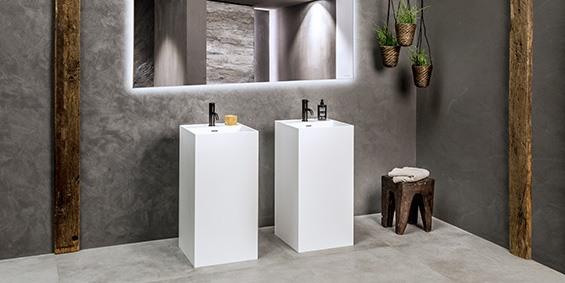B DUTCH wastafel zuil vierkant. B DUTCH is een producent van hoogwaardige keukens en badkamers incl maatwerk direct af-fabriek tegen lage prijzen. Badkamermeubels, ligbaden, wastafels, douchebakken, toiletfonteinen, RVS kranen, LED verlichting, waanzinnige keramische tegels in alle formaten.