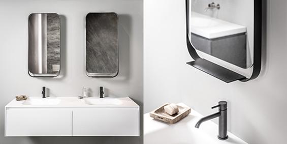Badkamer spiegel met zwarte lijst. Draaibare badkamer spiegel design B DUTCH.