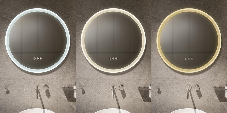 Ronde spiegel. ronde badkamerspiegel met LED verlichting. Twee uitvoeringen, drie afmetingen. B DUTCH design ronde spiegel badkamer.