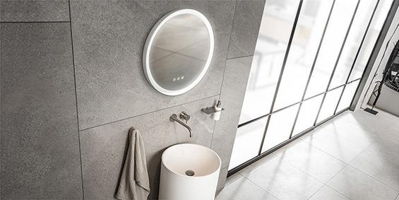 Ronde spiegel, ronde badkamerspiegel met 3 standen LED verlichting. B DUTCH design ronde badkamer spiegel. In drie formaten verkrijgbaar, doorsnede 60, 80 en 110 cm.