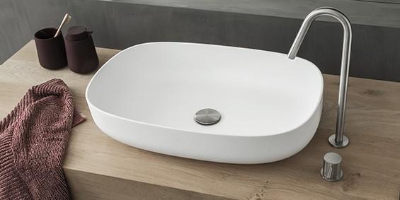 Waskom-wasbak 58 cm. Opzet waskom van B-Solid, een topkwaliteit materiaal dat qua uitstraling lijkt op Solid Surface Corian. Model Shaped met mooie ronde hoeken.