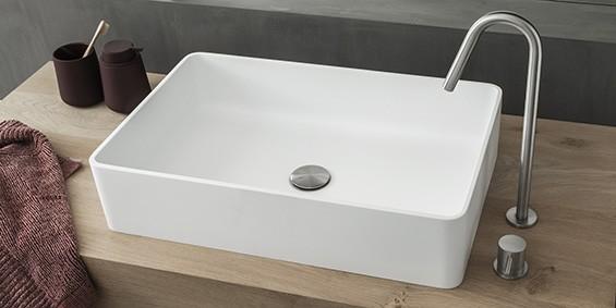 Rechthoekige wasbak, rechthoekige waskom. topkwaliteit B-Solid. Dit materiaal heeft een mat witte uitstraling zoals Solid Surface Corian. De B DUTCH Rectange opzet waskom, opzet wastafel, opbouw wasbak. De rechthoekige wasbak of rechthoekige waskom in strak modern design.