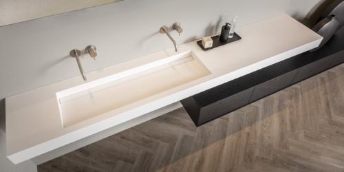 Grote wastafel Corian mat wit. B DUTCH design wastafels. Diverse afmetingen, model Saint Barth Large.