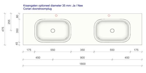 Technische tekening en afmetingen B DUTCH Wastafel Solid Surface Corian Barbados Double 1800. Mat witte dubbele wastafel 180 cm.