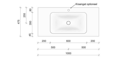 Technische tekening en afmetingen B DUTCH Wastafel Solid Surface Corian Soft Single 1000. Mat witte wastafel 100 cm.