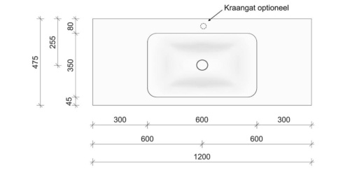 Technische tekening en afmetingen B DUTCH Wastafel Solid Surface Corian Soft Single 1200. Mat witte wastafel 120 cm.