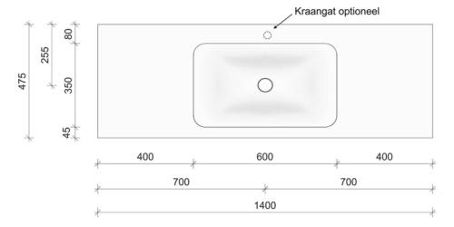 Technische tekening en afmetingen B DUTCH Wastafel Solid Surface Corian Soft Single 1400. Mat witte wastafel 140 cm.