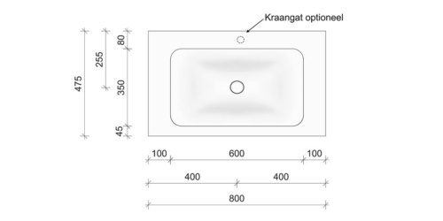 Technische tekening en afmetingen B DUTCH Wastafel Solid Surface Corian Soft Single 800. Mat witte wastafel 80 cm.