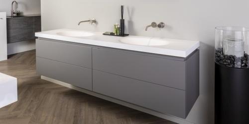 Roma badkamermeubelen van B DUTCH. Luxe maatwerk badkamermeubelen, badkamerkasten, badmeubel. Wastafelmeubel Roma is leverbaar in diverse maten en uitvoeringen, ook op maat.