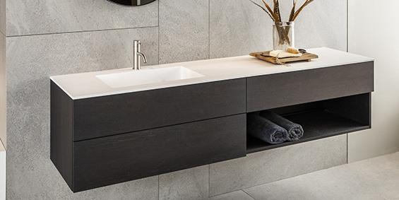Milano badkamermeubelen van B DUTCH. Luxe badkamerkasten, badmeubel. Wastafelmeubel Milano is leverbaar in diverse maten en uitvoeringen, ook op maat