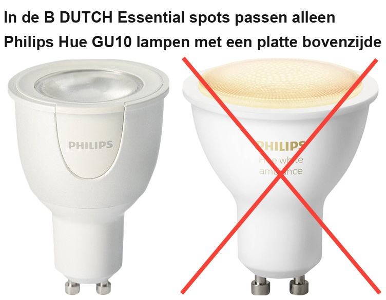 Philips Hue GU10 lichtbron, led spot voor B DUTCH Essential spots.
