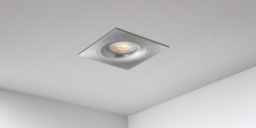 Spotjes, inbouwspots vierkant 92mm aluminium LED, uit de B DUTCH The Essentials plafondspots collectie. Diverse maten, mat zwarte spots, mat witte spots en geborsteld aluminium LED spots voor GU10, MR16 en Philips Hue GU10 lichtbronnen.