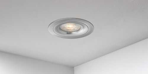 Spotjes, inbouwspots rond 92mm aluminium, LED, uit de B DUTCH The Essentials plafondspots collectie. Diverse maten, mat zwarte spots, mat witte spots en geborsteld aluminium LED spots voor GU10, MR16 en Philips Hue GU10 lichtbronnen.