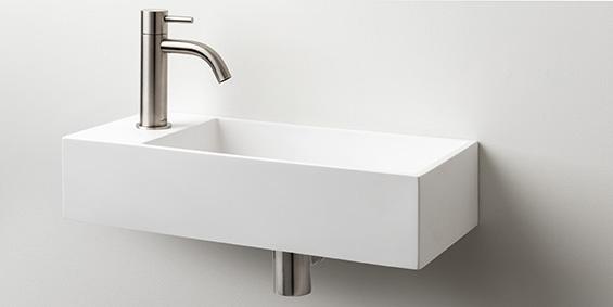 Toiletfontein, wc wasbak, wastafel toilet, B DUTCH Arezzo Solid Surface B-Solid toiletfontein, met of zonder kraangat te bestellen. Mat witte uitstraling. B DUTCH Cuijk.