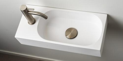 Toiletfontein, wc wasbak, wastafel toilet, B DUTCH Florence Solid Surface B-Solid toiletfontein, met of zonder kraangat te bestellen. Mat witte uitstraling. B DUTCH Cuijk.