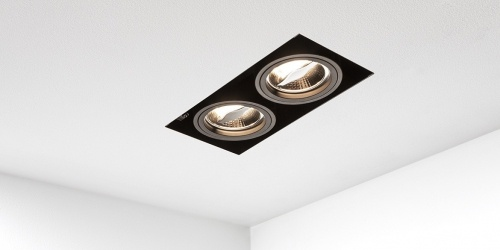 Trimless spot, dubbele inbouwspot led badkamerverlichting keukenverlichting badkamer keuken spot B DUTCH trimless spot Viking AR70 black dim to warm
