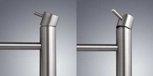 Wastafel- of waskomkraan van zeer hoogwaardig geslepen RVS. B03-160-DECK. Design RVS opbouwkraan.