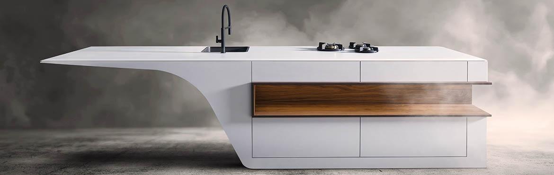 B Dutch design keuken van solid surface of corian, met hout
