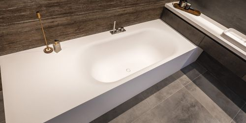 Solid Surface Corian ligbad New York B DUTCH. Mat wit, modern design. 180 cm lang, 90 cm breed, 55 cm hoog. Ook maatwerk mogelijk.