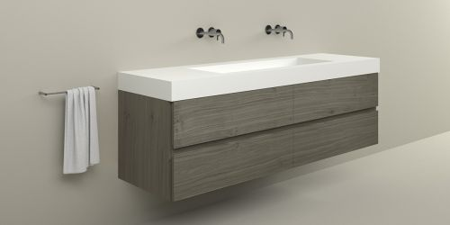 Badkamermeubel met grote wasbak B DUTCH Bari 190 cm breed, eiken hout fineer. Wastafelmeubel met B DUTCH Solid Surface Corian wastafel.