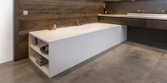 Solid Surface Corian ligbad New York B DUTCH. Mat wit, modern design. 180 cm lang, 90 cm breed, 55 cm hoog. Ook maatwerk mogelijk. Bepaal uw persoonlijke maat.