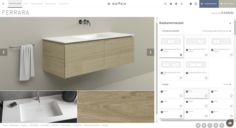 Configurator badkamermeubel Ferrara. Stel uw eigen B DUTCH Ferrara wastafelmeubel samen. Combineer Solid Surface Corian wastafels met een houten ondermeubel van houtfineer of MDF gespoten.